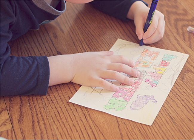 Coloring printable Easter card like an Easter coloring page - Kids Activities Blog