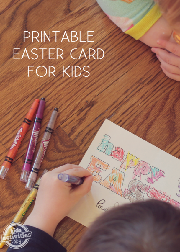 Easter Cards made from free printables that say Happy Easter, Love, colored by children with twistable crayons.