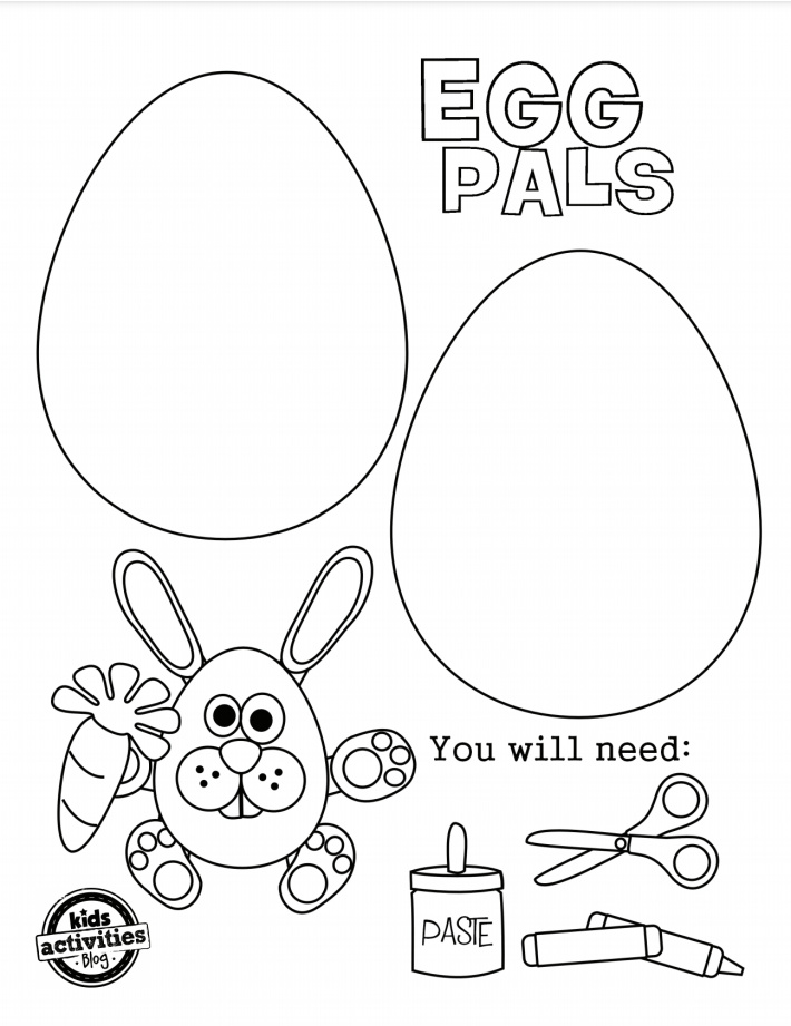Easter Egg Coloring Pages - Egg Pals 2 Eggs to Color - Kids Activities Blog - pdf of page one of printable set