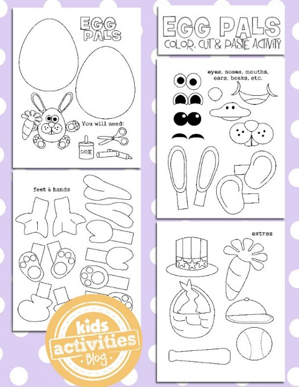 Printable Easter activities that allow you to make a paper Easter bunny with an egg body, eyes, mouth, carrot, hands, feet, and ears.