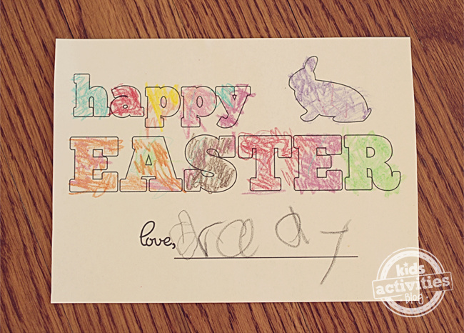 Happy Easter Printable Homemade Card finished by child