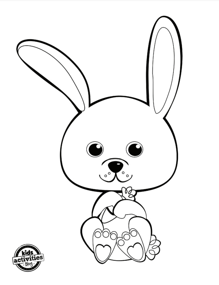 Cute Bunny Coloring Pages & Simple Bunny Dot-to-Dot Worksheets