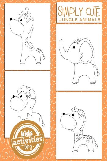 Jungle Animal Coloring Pages for Kids - feature