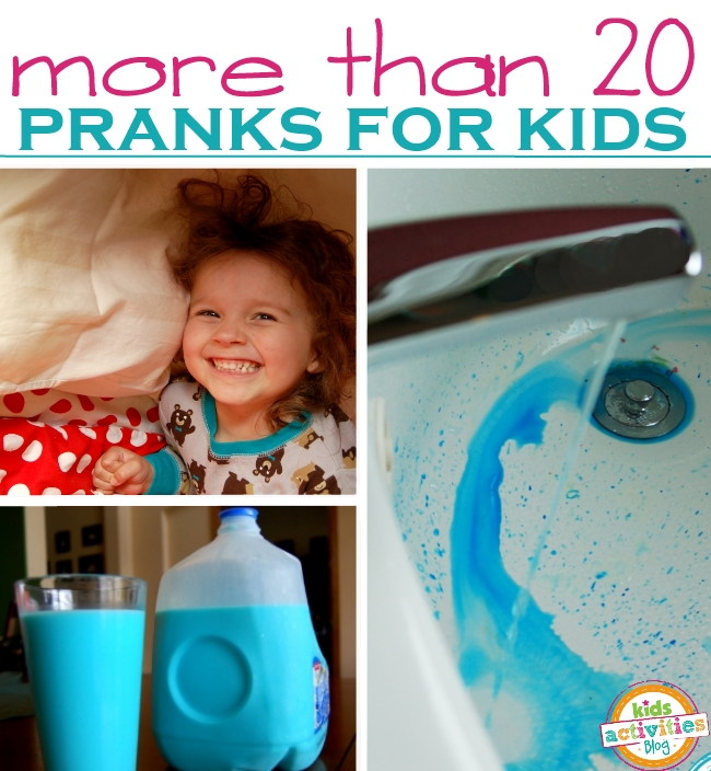 LOTS of Pranks for kids to pull on April Fools Day - 3 pictured here including pillow trick, blue milk trick and water changing prank
