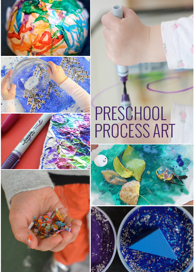 11 Process Art Projects for Preschoolers and Toddlers - these hands on preschool art projects shown include colorful preschool fun