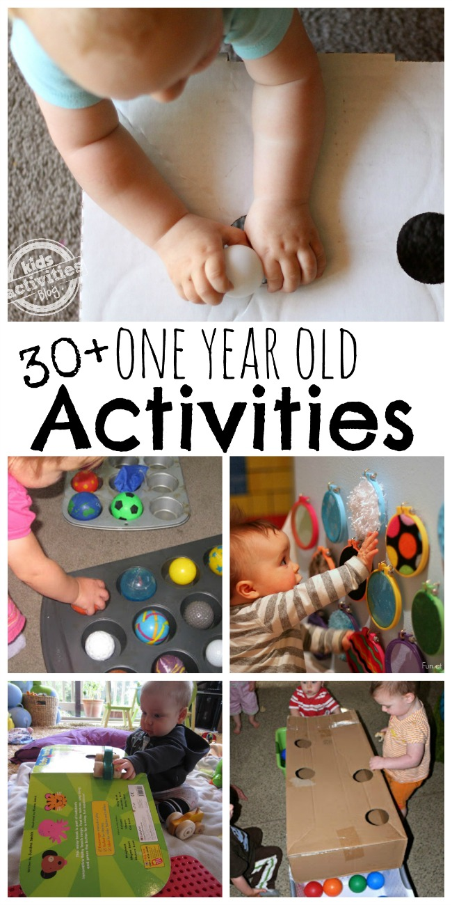 Keep Baby Stimulated With 30+ Busy Activities for 1-Year-Olds- play with muffin pans, mirrors, boxes, and green books.