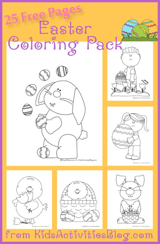 Easter coloring pages with an Easter bunny, little boy with an Easter basket, an Easter chick, an Easter chick in a basket, and an Easter bunny holding a basket, and a little girl holding a giant Easter egg.