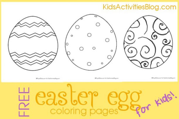 Free Easter egg coloring pages with an egg that has zig zags, a polka dot egg, and a swirly egg