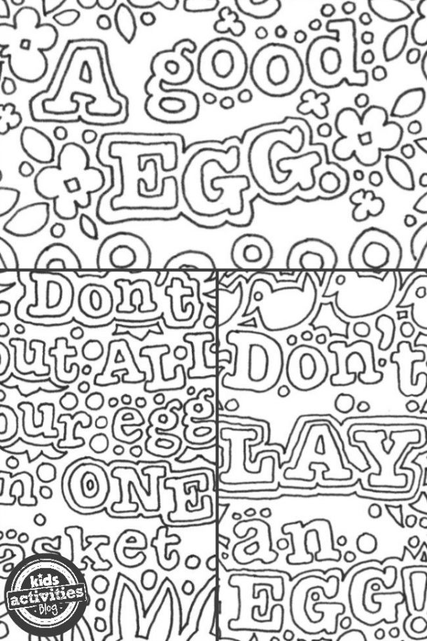 Easter coloring sheet with funny sayings and doodles.
