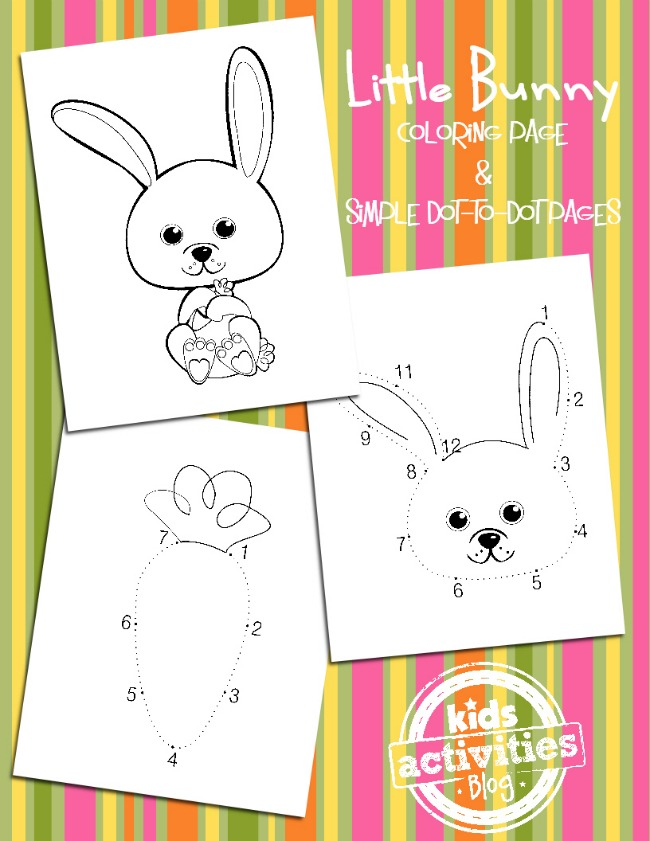 cute bunny coloring pages - Kids Activities Blog - shown is one bunny and carrot coloring page and two simple bunny themed dot to dot worksheets