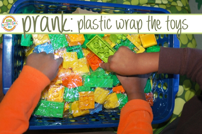 prank idea - plastic wrap toys - easy pranks for kids for April Fools Day