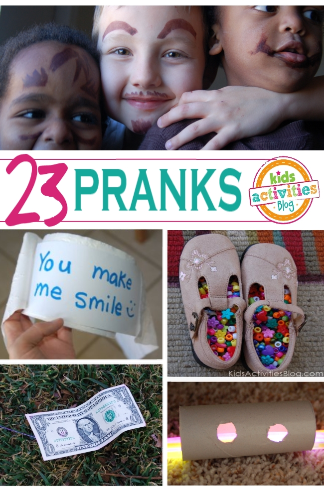 easy and funny pranks for kids for April Fools Day - 23 Pranks with 5 pictured here