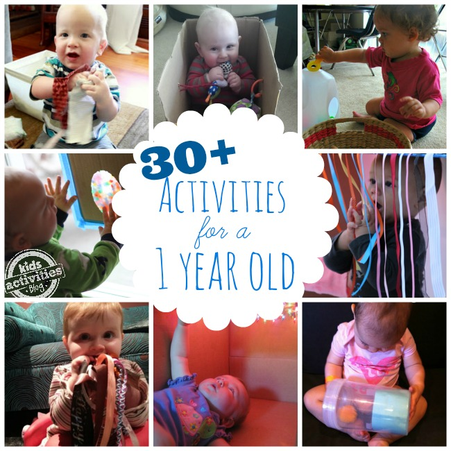 Keep Baby Stimulated With 30+ Busy Activities for 1-Year-Olds! Tickle ribbon toy, putting pom poms in a bottle, a milk jug.