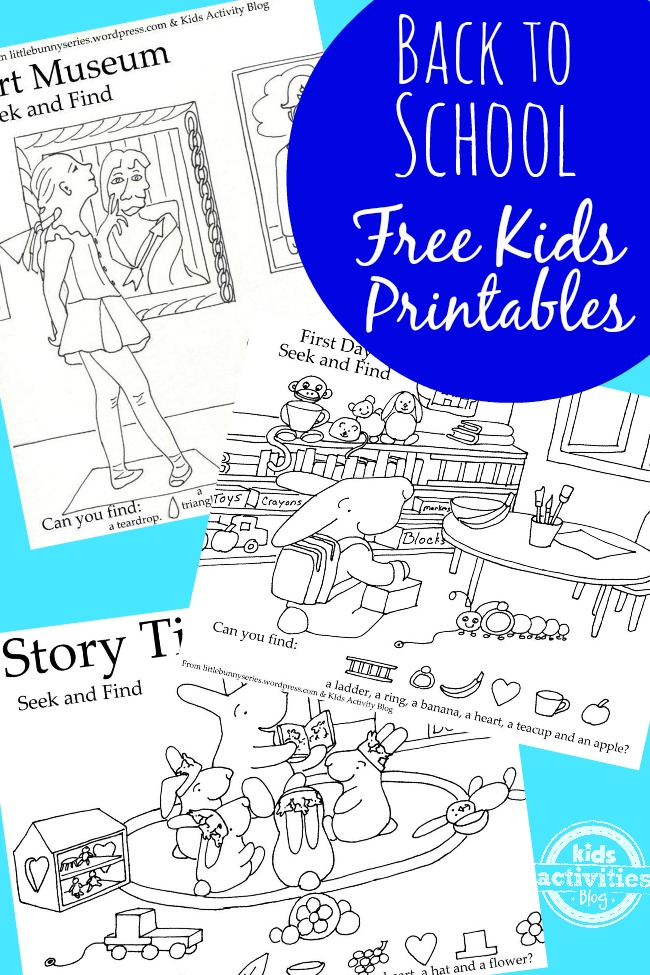 3 Printable Original Back to School Seek and Find Pictures Puzzle Worksheets
