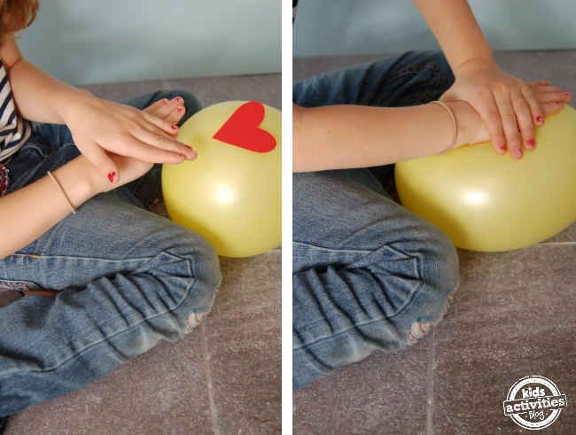 Practice CPR on a balloon