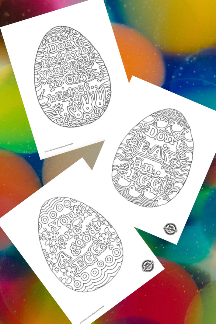 Precious Free Egg Coloring Pages — Egg Sayings & Doodles