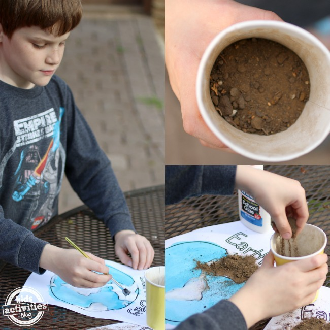Making an Earth day project using paper, paint, glue, and real dirt!