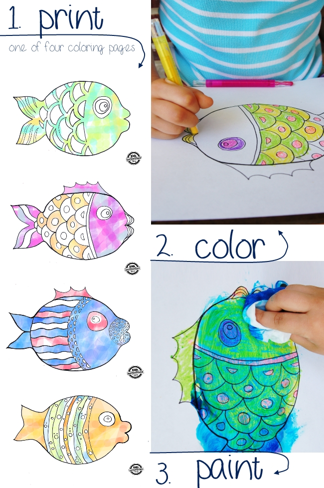 Fish coloring pages - with paint recipe