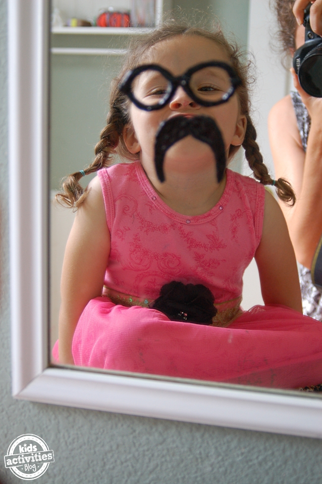 diy mustache and eye glasses clings