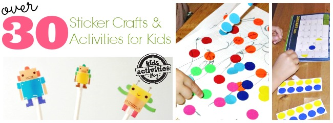 over 30 Sticker Crafts and activities for kids
