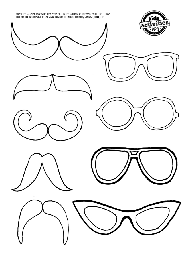 Mustache and Eye Glasses printable