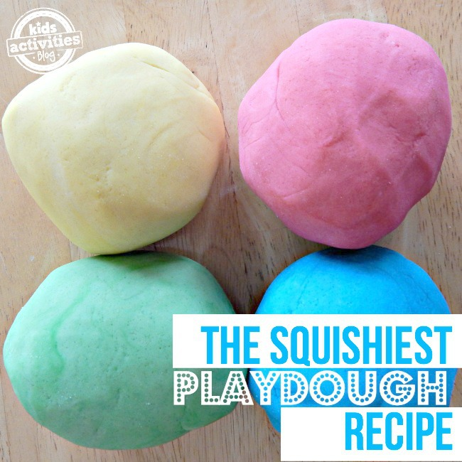 The squished playdough recipes with yellow, red, green, and blue playdough.