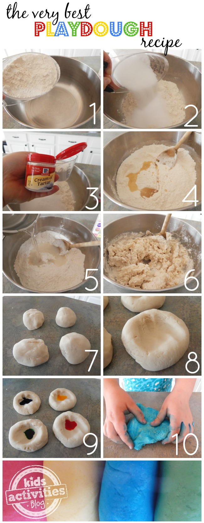 How to make playdough by adding flour in a metal bowl, salt, cream of tar tar, water, oil, mix and form! Add food coloring gel to make red, yellow, blue, and green homemade playdough.