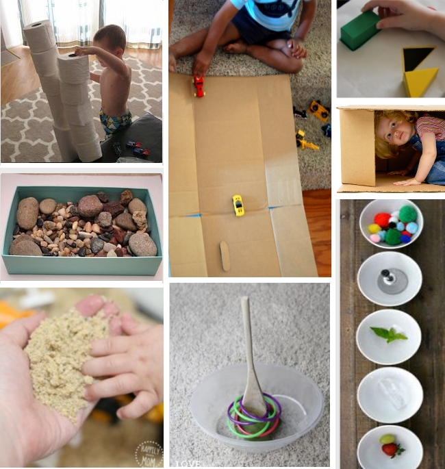 activities for two year olds - making things with 2 year olds, toilet paper stacks, rock collections, kinetic sand, homemade toys, car ramps and hiding in boxes