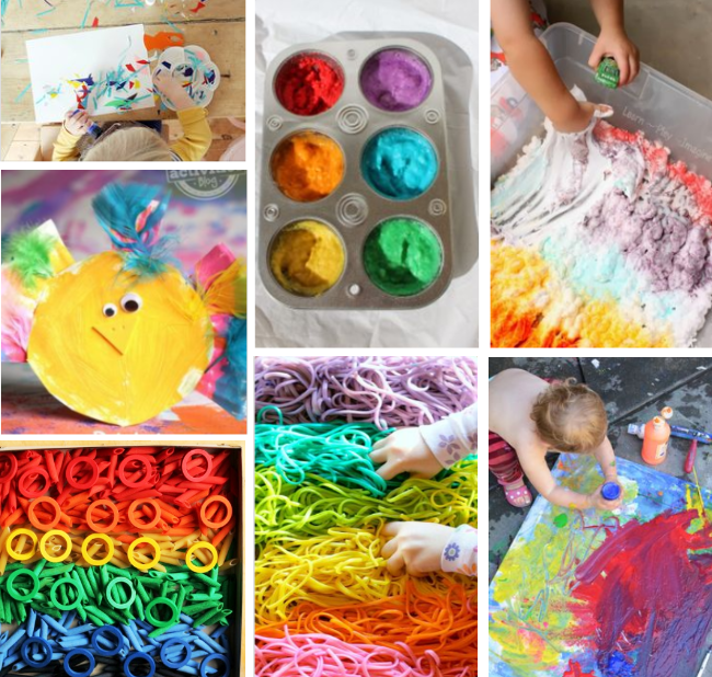sensory activities for two year olds - hands in paint, shaving cream, rubber bands and colored spaghetti