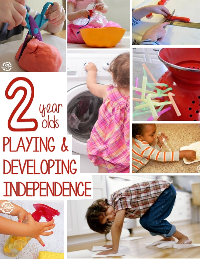 LOTS of activities for 2 year olds through play they develop independence - cutting, beading, chores, cleaning and playing