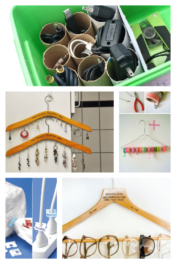 Organization items for home using hangers, toilet paper rolls, and bread ties.