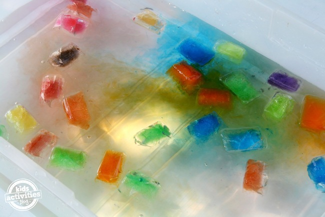 coloured ice play bin