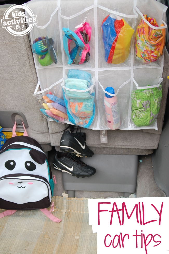 Organization ideas for your life using shoe racks to keep toys like chalk together and sports shoes, and sunscreen as well as swimming diapers, and pool toys.