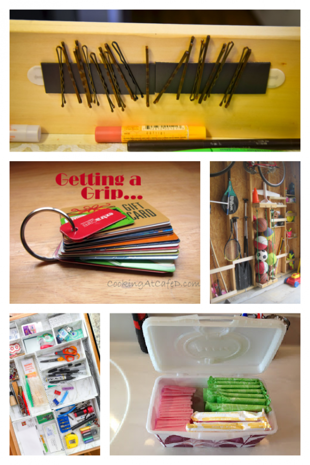 fun organizing ideas to clean your junk drawers, keep barrettes together, organize feminine products, and sports balls.