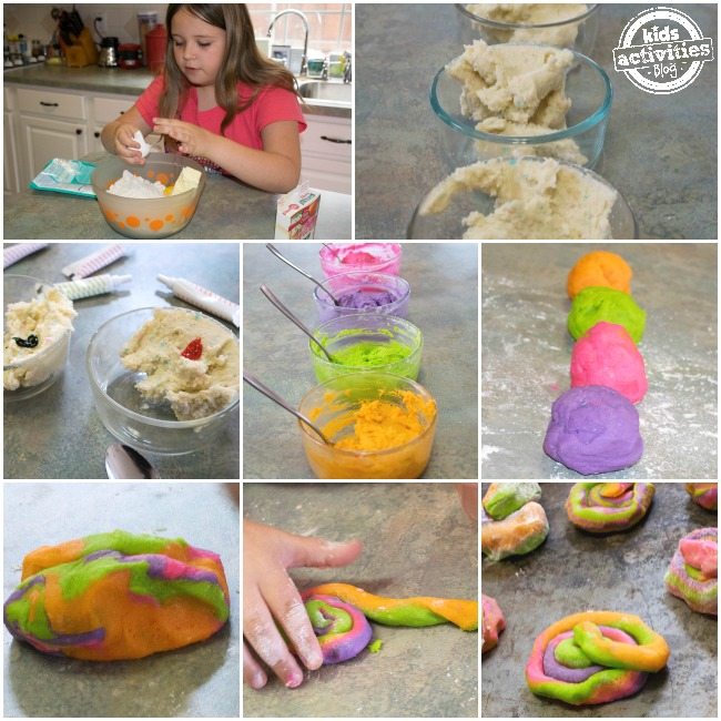 how to make unicorn poop cookies step by step starting with mixing cookies, adding colors and combining