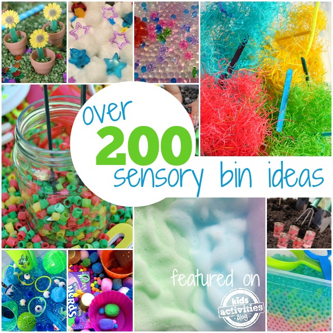 Over 200 sensory bin ideas collage with pictures of rocks, cotton balls and plastic stars, gel balls, fuzzy material and popsicle sticks, beads, nerds and other candy, foam soap bubbles, and dirt.