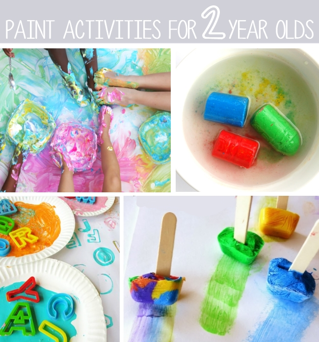 2 year old crafts and art activities include paint - shown is a puffy paint with feet, letter painting, ice painting and wet chalk