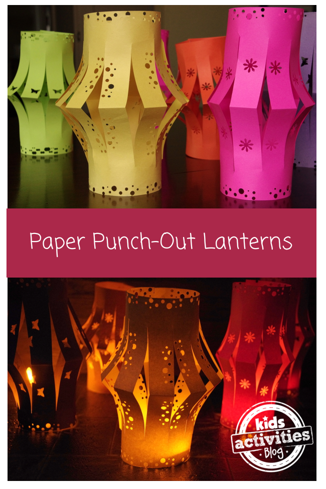 Tea light paper lanterns that have paper punch designs on them. There are yellow, green, orange, and pink lanterns that are lit up with LED lights because they are flameless paper lanterns.