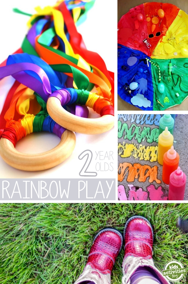 best activities for 2 year olds - rainbow play ideas for 2 year olds which include rainbow rings, rainbow mat, rainbow paint and outdoor activities for kids