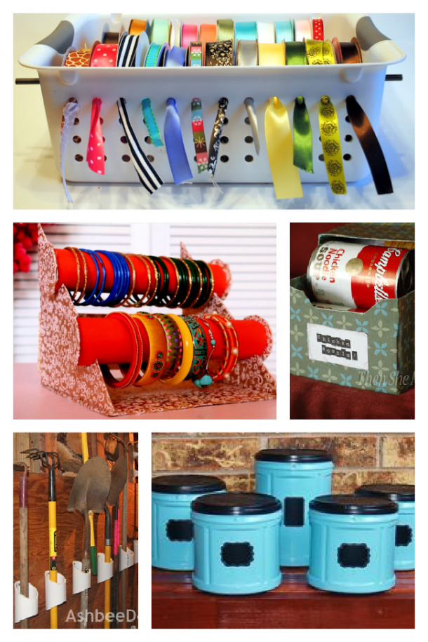 ways to organize your home for free using coffee cans, baskets, pvc pipes, and soda boxes.