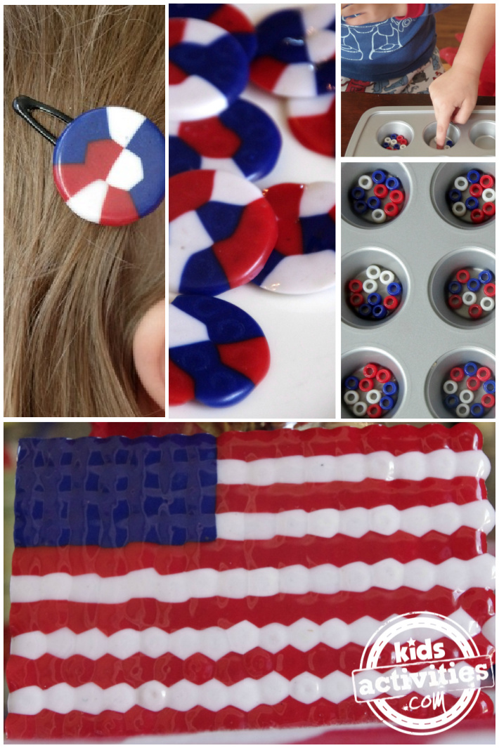 Red White & Blue Melted Pony Bead Crafts for Kids