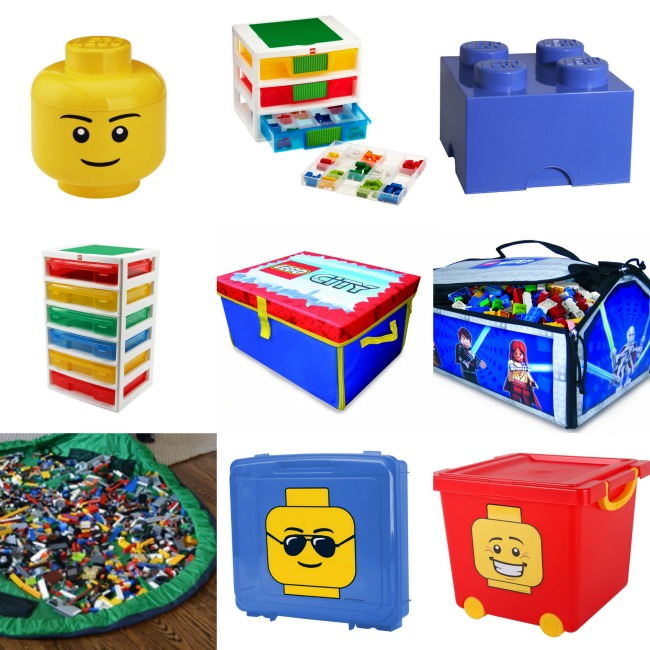 LEGO Storage Products and accessories like bins, totes, tubs, bags, and a head.