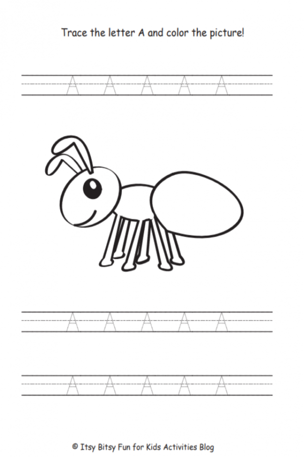 Letter a worksheets- trace the capital letter A and color the ant!