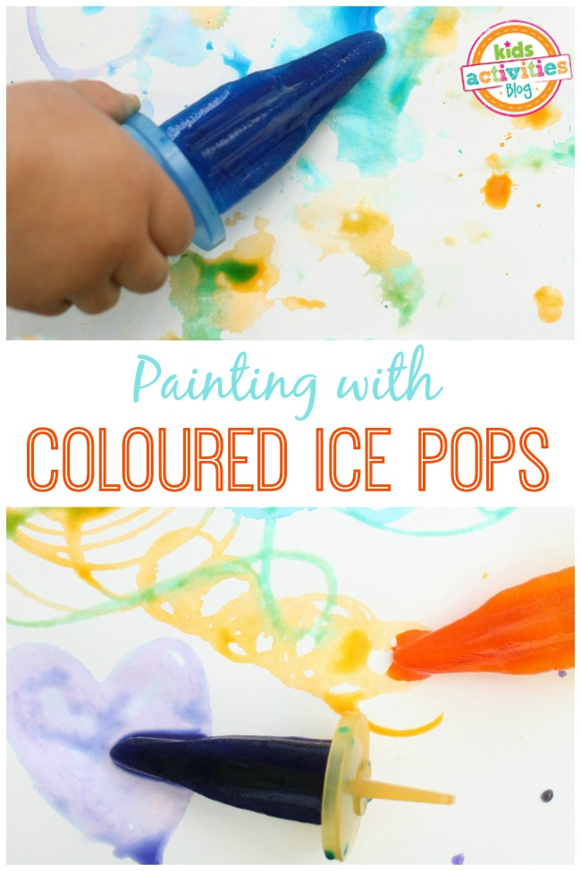 Painting with coloured ice pops