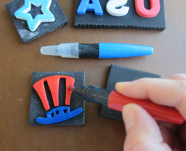 Coloring Patriotic Stamps with Food Markers
