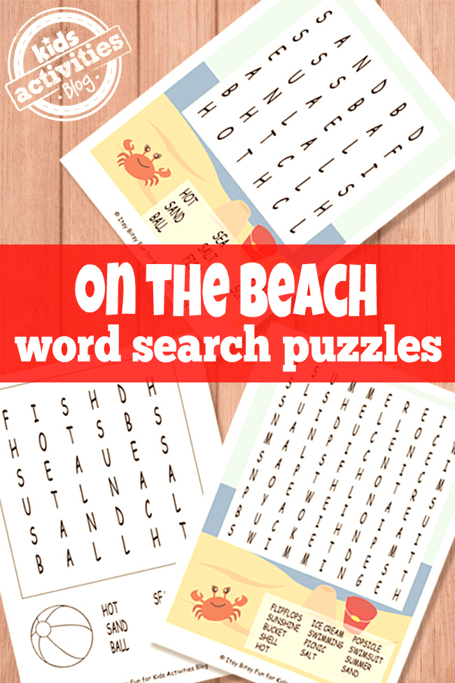Beach Word Search Puzzles Free Kids Printables