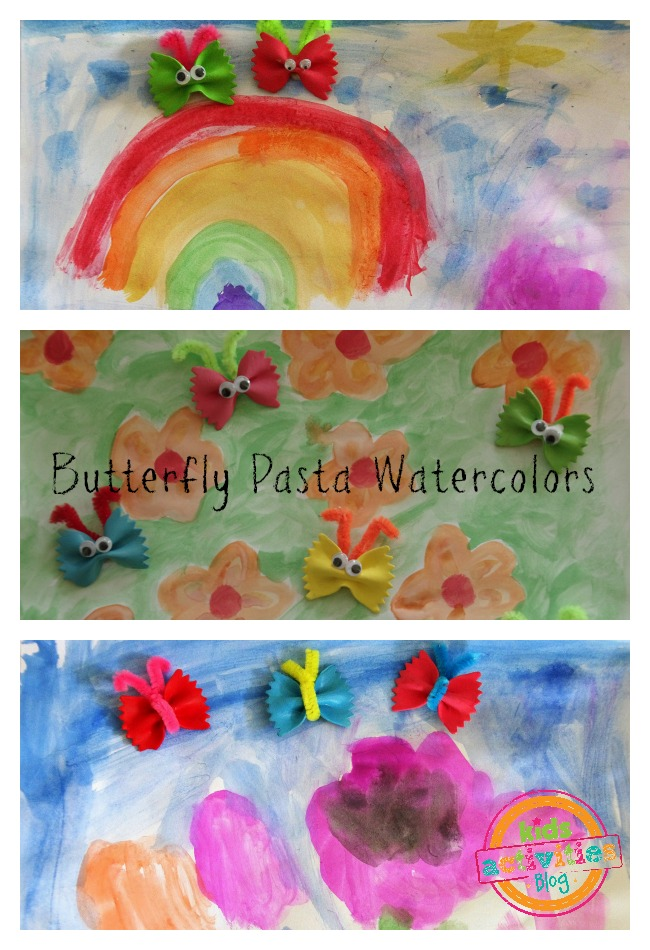 butterfly pasta craft watercolors