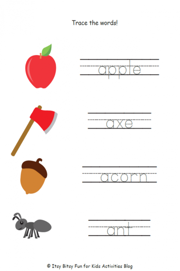 free printable letter a worksheet-trace the words