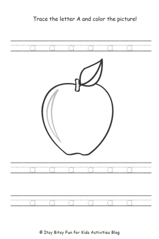 free printable letter a worksheets that help you child learn the lowercase a, by tracing lower case a's and it doubles as an apple coloring page.