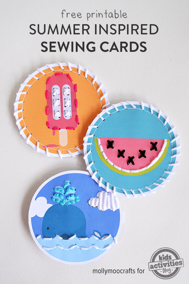 sewing cards for kids - free printable summer sewing card templates
